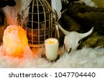salt lamp sacred space with... | Shutterstock . vector #1047704440