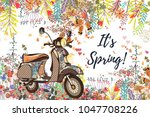 beautiful spring vector... | Shutterstock .eps vector #1047708226