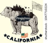 california hand drawn poster... | Shutterstock .eps vector #1047710224