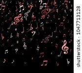 pink flying musical notes...   Shutterstock .eps vector #1047713128