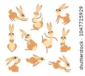 Stock vector cartoon cute rabbit or hare little funny rabbits vector illustration grouped and layered for easy 1047725929