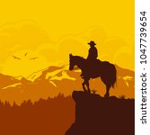 silhouette of lonesome cowboy... | Shutterstock .eps vector #1047739654