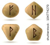 Runes Engraved on Stone. Set number One on white