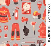 firefighter vector firefighting ... | Shutterstock .eps vector #1047759004