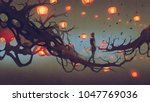man walking on a tree branch... | Shutterstock . vector #1047769036