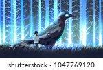 little girl with her big crow... | Shutterstock . vector #1047769120
