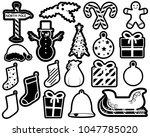 outline christmas monogram... | Shutterstock .eps vector #1047785020
