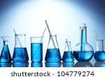 test tubes with blue liquid on... | Shutterstock . vector #104779274