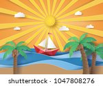 summer beach and palm trees on... | Shutterstock .eps vector #1047808276