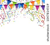colored garlands  streamers and ... | Shutterstock .eps vector #1047814519