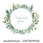 watercolor frame. floral wreath.... | Shutterstock . vector #1047829936