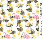 summer tropical pattern with... | Shutterstock .eps vector #1047832168
