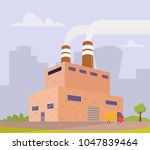 industrial factory in flat style   Shutterstock .eps vector #1047839464