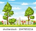 rual summer landscape with... | Shutterstock .eps vector #1047853216