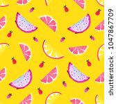 seamless tropical pattern of... | Shutterstock . vector #1047867709