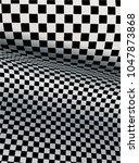 Checkered Backdrop. 3d  Three...