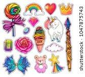 set of cute girlish stickers ...   Shutterstock . vector #1047875743