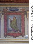 Small photo of ROME, ITALY - SEPTEMBER 03: Saint Theodulus martyr fresco painting in Church of St Lawrence at Lucina, Rome, Italy on September 03, 2016.