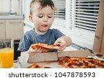 the little boy eats a huge... | Shutterstock . vector #1047878593