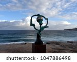 Small photo of Sydney, Australia - Oct 27, 2017. Jock Clutterbuck: Song of the Aisors. Sculpture by the Sea along the Bondi to Coogee coastal walk is the world's largest free to the public sculpture exhibitions.