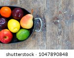 mixed fruits of apples  lime ... | Shutterstock . vector #1047890848