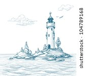 Lighthouse Island In The Sea...
