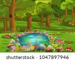Pond Surrounded By Flowers In...