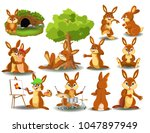 Stock vector rabbit doing different activities isolated on a white background 1047897949