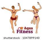 set of two women doing their... | Shutterstock .eps vector #1047899140