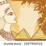 portrait of the egyptian queen | Shutterstock .eps vector #1047904510