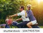 beautiful couple on retro... | Shutterstock . vector #1047905704