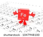 iron element symbol up on white ...   Shutterstock . vector #1047948100