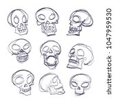 doodle skeleton  vector sketch | Shutterstock .eps vector #1047959530
