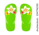 flip flop sandals with plumeria ... | Shutterstock . vector #104796530