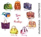 set types of handbags  back... | Shutterstock . vector #1047984103