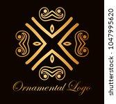 vintage ornamental logo... | Shutterstock .eps vector #1047995620