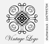 vintage ornamental logo... | Shutterstock .eps vector #1047995704