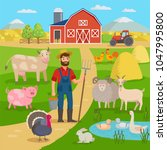 happy farmer with agricultural... | Shutterstock .eps vector #1047995800