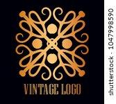 vintage ornamental logo... | Shutterstock .eps vector #1047998590