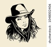 woman face with a cowboy hat.... | Shutterstock .eps vector #1048002406