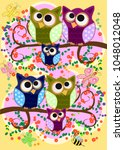 happy family of owls on... | Shutterstock .eps vector #1048012048