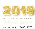 2019 happy new year. gold... | Shutterstock .eps vector #1048019170