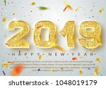 2019 happy new year. gold... | Shutterstock .eps vector #1048019179
