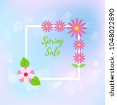 spring sale flyer on blur... | Shutterstock .eps vector #1048022890