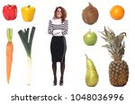 woman with lovely fruit | Shutterstock . vector #1048036996