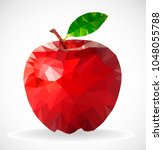 polygon apple   low poly apple | Shutterstock .eps vector #1048055788