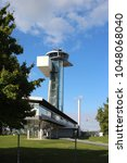 Small photo of air traffic control tower, airport Nuremberg, Germany, Bavaria