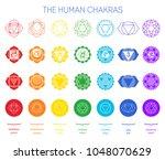 chakra symbols set  yoga energy.... | Shutterstock .eps vector #1048070629
