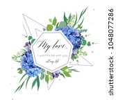 vector floral card design with... | Shutterstock .eps vector #1048077286