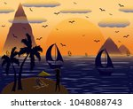 my island. a fabulous romantic... | Shutterstock .eps vector #1048088743